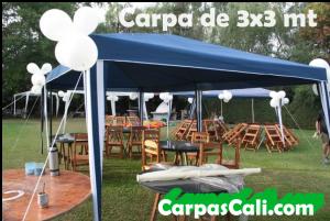 CARPA TOLDO PARASOL DE 3X3 POLIÉSTER AZUL