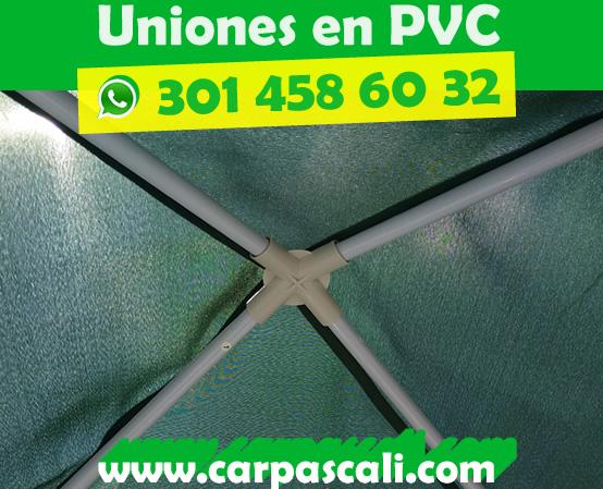 Vista de la unión en PVC superior principal del toldo 3x3 en poliéster color verde