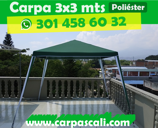 carpa liviana importada de 3x3 metros en poliéster verde
