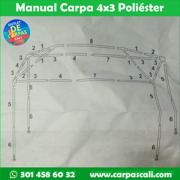 manual instructivo carpa 4x3 metros de poliéster