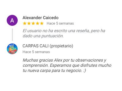 Comentario sobre Carpas Cali de Alexander Caicedo