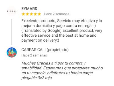 Comentario sobre Carpas Cali de Eymard