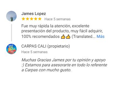 Comentario sobre Carpas Cali de James López