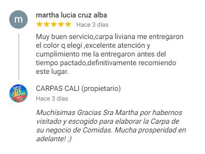 Comentario sobre Carpas Cali de Martha Lucía Cruz Alba desde Cali