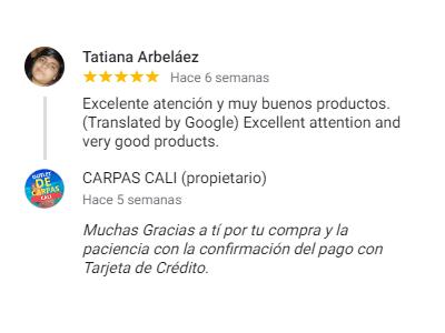 Comentario sobre Carpas Cali de Tatiana Arbeláez de la Ciudad de Cali