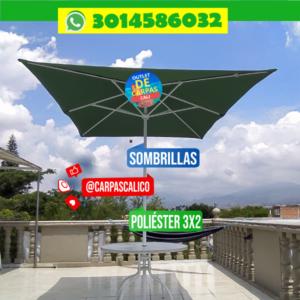 Sombrilla Parasol Verde 2x3 Mts Poliéster