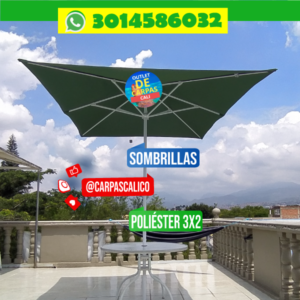 Sombrilla Parasol Verde 2×3 Mts Poliéster