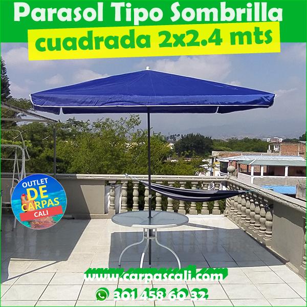 Sombrilla Parasol Cuadrada 2×2.4 Mts en Lona