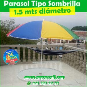Sombrilla Parasol Sencilla 1.5 Mts de Diámetro