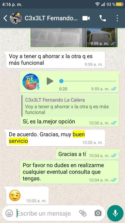 Comentario en Whatsapp sobre Carpas Cali de Fernando desde La Calera, Cundinamarca
