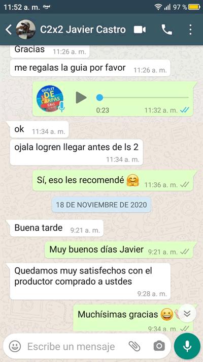 Comentario en Whatsapp sobre Carpas Cali de Javier Castro