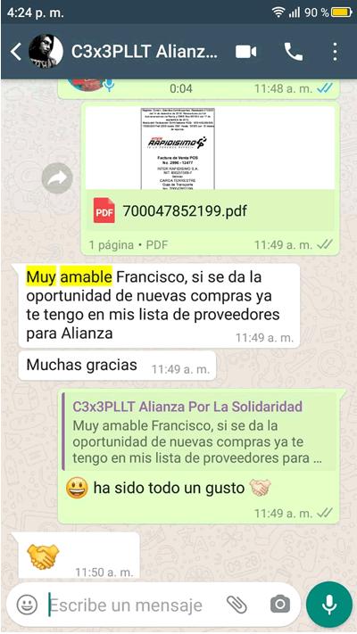 Comentario en Whatsapp sobre Carpas Cali de Javier Mauricio Mocondino de Alianza por La Solidaridad